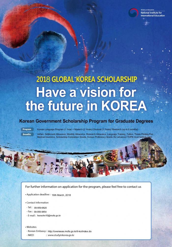 מלגה לתואר שני ושלישי בקוריאה